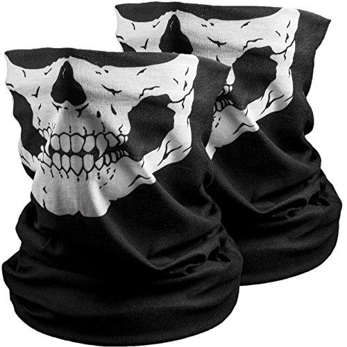 KADACTIVE 2 x Paintball Sturmmaske Motorradmaske Maske für Motorrad Festival - Multifunktionstuch I Bandana I Schlauchschal I Halstuch schwarz