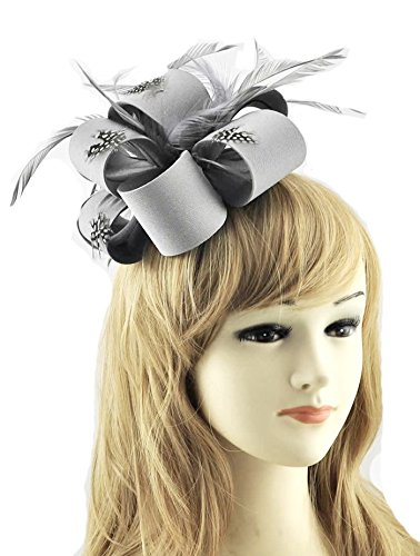 LeahWard Herrlich Lovely Feather & Blumendruck Fascinator On Comb Fashion Qualität Racing Festival Garden Party CWH00178 Grau