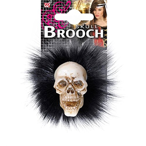 Totenkopf Brosche mit Federn Skull Voodoo Anstecker Totenschädel Federbrosche Gothic Ansteck Pin Skelettkopf Schmuck Halloween Kostüm (Skull Kostüm Voodoo)