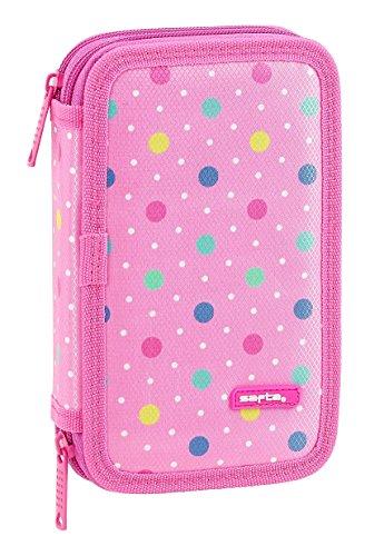 Federmappe für die Schule Safta Dots Pink - Offiziell - 28 teilig gefüllt