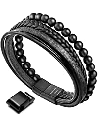 Charm Bracelets Bracelets & Bangles Modest Charm Multilayer Black Leather Weaved Bracelets&bangles For Men Woman Stainless Steel Wristband Cuff Jewelry Boy Gift Discounts Price