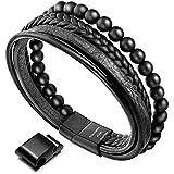 murtoo Homme Cuir Véritable Bracelet et Acier Inoxydable Bracelet Multi Tissé Réglable Noir ou Marron Cuir Bracelet pour Les Hommes (Noir Cuir et Onyx)