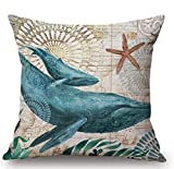 HOJJP Animal Sea Turtle Wall Cotton Linen Decorative Pillowcase Throw Pillow Cushion Cover Square 18x18 inch Home Life ¡­ (4)