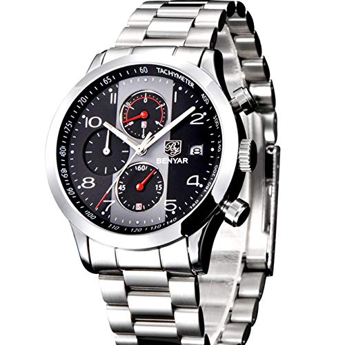 Herren Edelstahl Chronograph Uhr Wasserdicht Sport Datum Analoge Quarz-Armbanduhr mit Schwarz Big Face Silber Fashion Classic Casual Uhren für Männer