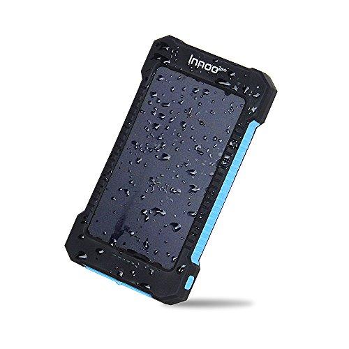 Innoo Tech 10000mAh Batterie Externe Solaire Etanche, Chargeur Solaire avec Deux Ports USB, Portable Lampe de Poche LED imperméable à la poussière et Résistant aux Chocs