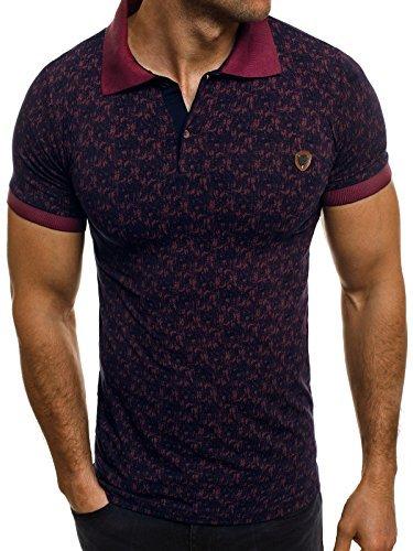 OZONEE-Herren-Herren-Poloshirt-Polohemd-Polo-T-Shirt-Kurzarm-Figurbetont-ZAZZONI-1095P-DUNKELBLAU-L