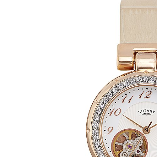 Rotary Women's Automatic Watch with White Dial Analogue Display and White Leather Strap PDS004/A/18