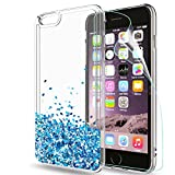 LeYi Hülle iPhone 6 Plus/iPhone 6S Plus Glitzer Handyhülle mit HD Folie Schutzfolie,Cover TPU Bumper Silikon Treibsand Clear Schutzhülle für Case Apple iPhone 6 Plus Handy Hüllen ZX TS Blau