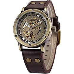 AMPM24 Vintage Bronze Roman Automatic Mechanical Mens Skeleton Brown Leather Strap Wrist Watch + AMPM24 Gift Box PMW362