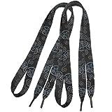 sourcingmap 1,7cm Breite Star Pattern Plastic Tip Sport Schnürsenkel Paar schwarz
