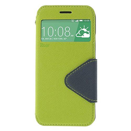 Handy Schutz in Perfektion   Ultra Slim Premium Handy Flip Case Cover Klapp Leder Tasche Schutz Hülle Etui Bumper mit Fenster aus hochwertigem Kunstleder mit Silikon Innen Schale Original Roar Fancy C Grün