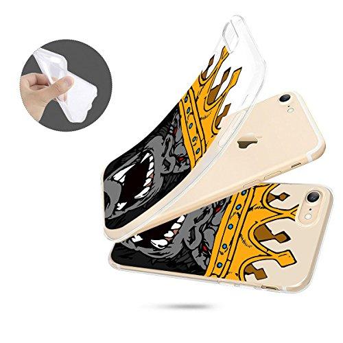 finoo | iPhone 7 Weiche flexible Silikon-Handy-Hülle | Transparente TPU Cover Schale mit Motiv | Tasche Case Etui mit Ultra Slim Rundum-schutz | Elefanten Marsch Gorilla King Close Up