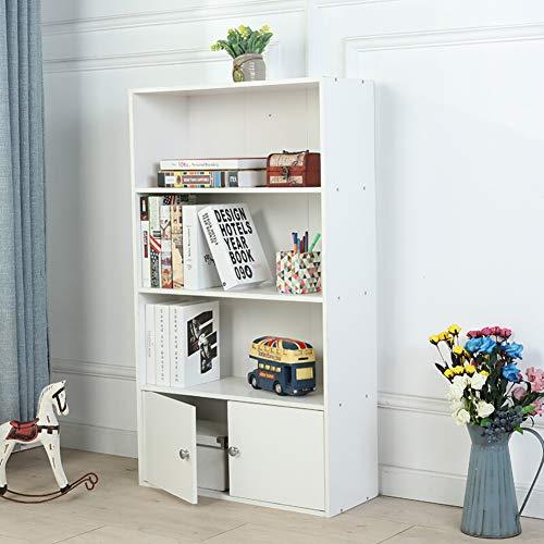 HM&DX Holz Bücherregal Mit türen 3-Tier,Retro Bücherschrank Kabinett Vielseitige Aufbewahrungsregal Für Haus büro-Weiß L