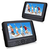 9'' Dual Screen Portable DVD Player, CUtrip Multi Region DVD Players For Car, 5 Hours Rechargeable Battery, Supports SD Card and USB, With Headrest Mount Car charger
