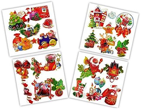 * 26 große 3D-Sticker mit weihnachtlichen Motiven | Aufkleber auf vier Folienblättern (ca. 28 cm x 28 cm) für Geschenke, Fenster uvm.