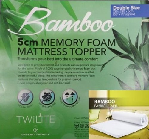 "Luxurious Quality Hypo - Allergenic & Anti – Bacterial BAMBOO MEMORY FOAM MATTRESS TOPPER - 1"" (2.54cm) and 2"" (4.5cm) (2"" ( 5 cm ), King) 2"