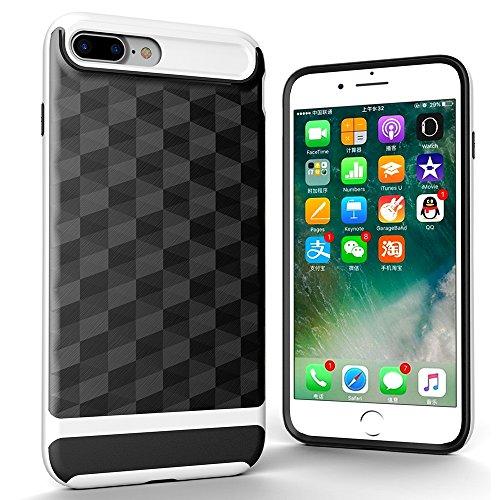 Stoßfest Handyhülle für iPhone 7 Plus, Skitic Doppelschichter Schutz Hülle TPU Schale + PC Farbenrahmen Dual Layer Schutzhülle Textur Geometrischem Design Armor Drop Resistance Case Cover für iPhone 7 Weiß