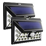 Mpow Tablero de Electrochapado Mejorado 24 LED Luz Foco Lámpara Solar,Sensor Gran Angular 120°10-11m Energía Solar al Aire Libre,Impermeable Seguridad Luz del 3 Modos Sensor de Movimiento para Patio, Terraza, Patio, Jardín, Entrada de Coches, Pared Exterior(2 paquetes)