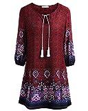 BAISHENGGT Damen Tunika Strandkleid Minikleid Vintage Bohemian Kleider Rot-2 Small