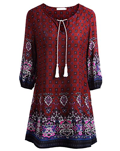 baishenggt-womens-ethnic-style-floral-print-3-4-sleeve-v-neck-tassel-drawstring-mini-dress-red-2-med