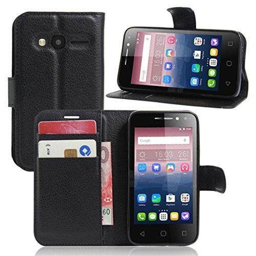 KATUMO®Wallet Case Alcatel Pixi 4 4, Luxuriös PU Ledertasche Handy Etui Kartensteckplätze und Seitenständer Hülle für Alcatel Pixi 4 (4 Zoll) Cover Shell, Schwarz