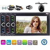 Double 2Din 6,2 pouces écran tactile capacitif GPS stéréo de voiture à voiture Dash DVD Player Navigation Radio Récepteur audio Bluetooth Headunit WiFi soutien 1080P vidéo avec caméra de recul sans f...