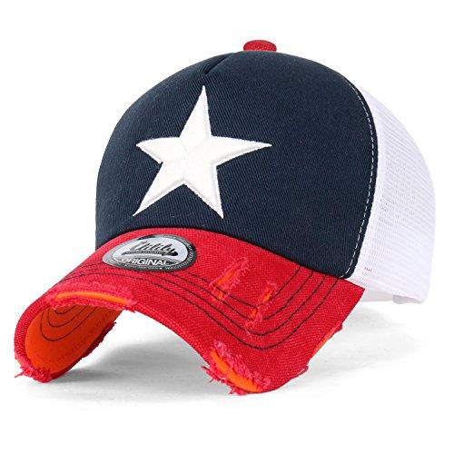 ililily Stern Stickerei schwarz Weiss Trucker Cap Hut Verstellbarer Baumwolle Baseball Cap (Medium, Navy/Red) -