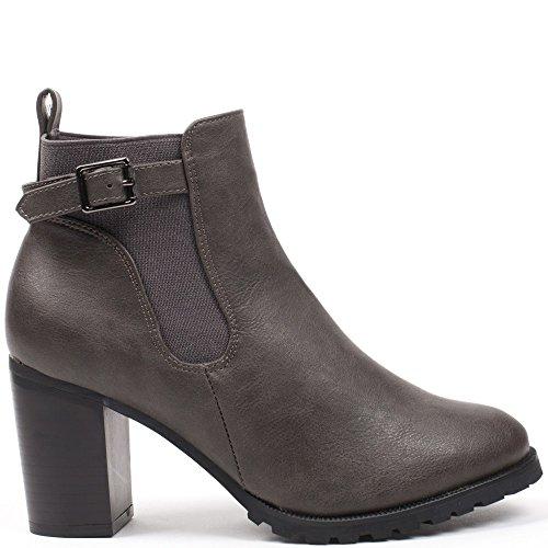 Ideal Shoes–Scarponcini con tacco spessa stile Chelsea con cinturone kahyna Grigio