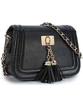 Stilvolle Kleine Leder Umhängetasche Mini Kette Handtasche Schultertaschen Henkeltasche Citytasche für Fraun Damen
