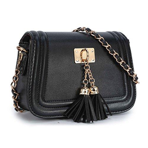 Stilvolle Kleine Leder Umhängetasche Mini Kette Handtasche Schultertaschen Henkeltasche Citytasche für Fraun Damen - Schwarz (Schwarze Handtasche Mini)