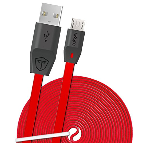 Tukzer 2 meter Premium Micro USB Cable 2.4 Amp: Tangle free, Fast Charging & High Speed Data Sync with (6.5 Feet /198 cm) Extra Length for All Mobiles, Smartphones, Tabs, E-Readers, Camera, Power-bank, GPS, MP3 players and other Micro-USB Compatible Devices [RED]