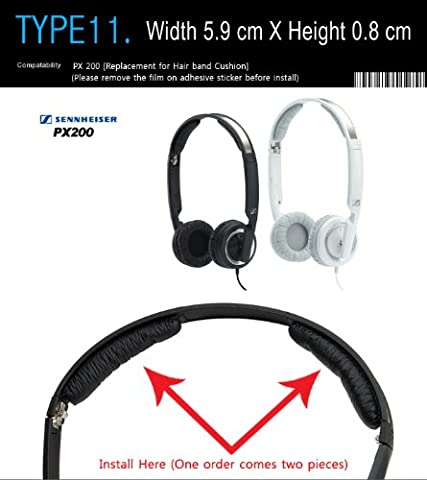 Headphone band cushion Replacement, Compatible with Sennheiser PX 200 (Packaged 1 pair (2 pieces)) T-011 (BLACK)