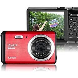 Vmotal GDC80X2 Mini appareil photo numérique compact 12 MP HD 3,0 pouces TFT LCD Caméra pour enfants / débutants / personnes âgées Cadeau de Noël (Rouge & Noir)