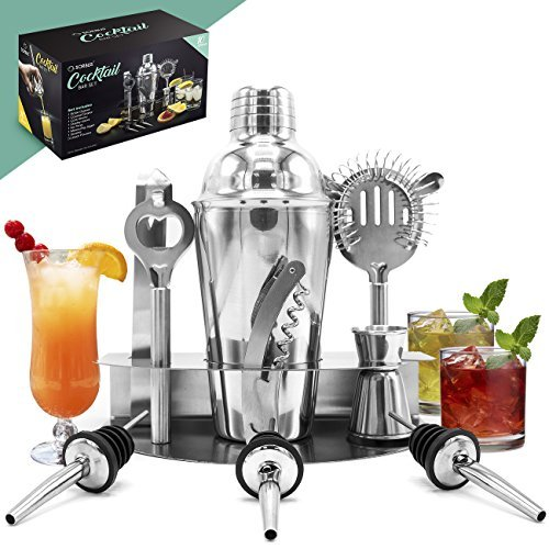Hersbrucker Cocktail Shaker und Mixing Set–Deluxe 10Stück Bar Werkzeug Set: Flaschenöffner, Kork Schraube, Ice Zange, Messung Jigger, Sieb, Liquor Ausgießer, On Display Ständer