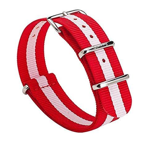 GEMONY NATO Strap 20mm Bracelet de Montre Nylon Watch Band Homme Femme Bracelet Boucle Wrist Watch Deployante For DW (20mm,