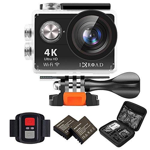 IXROAD Action Cam 4K WiFi Unterwasserkamera Actionkamera Helmkamera Actioncam Sportkamera mit Fernbedienung 2 Akkus und Zubehör Set für Fahrrad Motorrad (Schwarz)