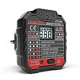 KKmoon Testeur de Prise électrique, Détecteur de Polarité de Circuit de Fil de Terre Neutre Automatique, Détection de Ligne de Fuite de Maison Avec Affichage LED