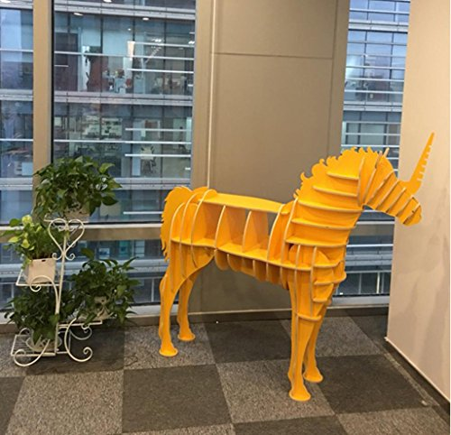 horn Pferde Bücherregal Tiermodellierung Schwimmende Regale Nähen Boden Racks Mode Kreativ Home Holz Dekoration 920 * 250 * 880mm, Kodak Yellow 920 * 250 * 880 ()