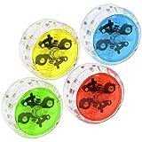 com-four® 4 Yo-Yos mit Kupplung und Kugellager, Jo-Jo in rot, gelb, grün und blau (04 Stück - Mix 3)