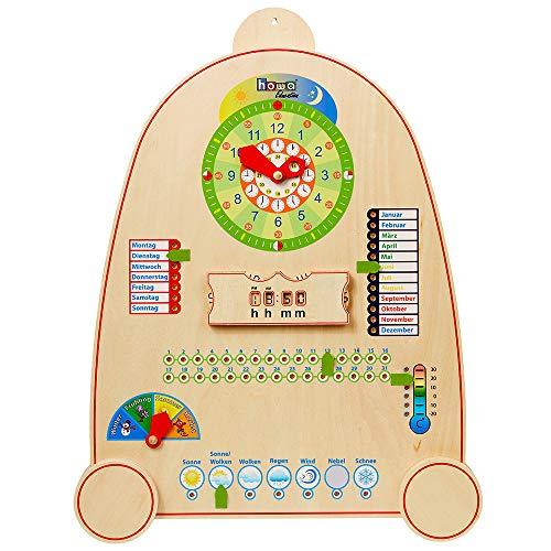 Howa Lernuhr mit Kalender, Jahreszeiten und Wetter aus Holz für Kinder 7500