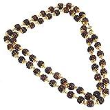 Sai Amrut Premium Rudraksh Mala Shiva God Micro Gold Plated Copper Chain 24 Inches For Unisex