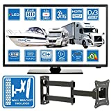 Autocaravanas Camper Barco 12 Voltios 22 Pulgada LED Full HD Digital TV DVB-T2/C/S2 TDT/Cable/Satélite TV USB de 12V 220V USB PVR & Reproductor Multimedia Monitor de PC + Soporte de Montaje en Pared