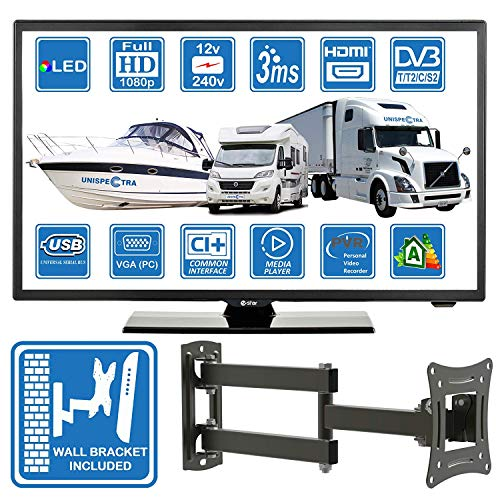 Autocaravanas Camper Barco 12 Voltios 22 Pulgada LED Full HD Digital TV DVB-T2/C/S2 TDT/Cable/Satélite TV USB de 12V 220V USB PVR &...