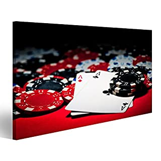 islandburner Canvas Wall Art Pair of aces and poker chips Picture Poster Large XXL Photo Print JFA-1P-UK
