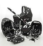 SaintBaby Poussette X-Move Rocker 2in1 3in1 Placez tout dans une Landau graphite & crâne 3en1 avec siège bébé