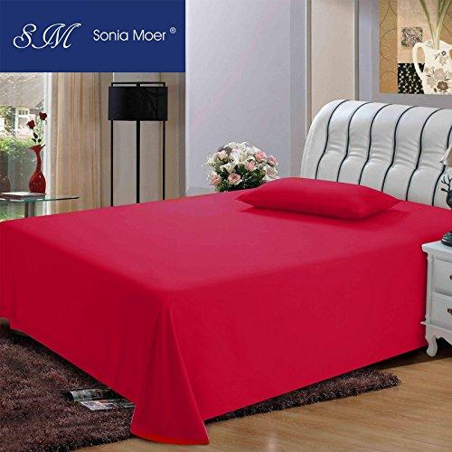 Sonia Moer Premium Polycotton 200 Thread Count Flat Sheet by, (Single, Burgundy)