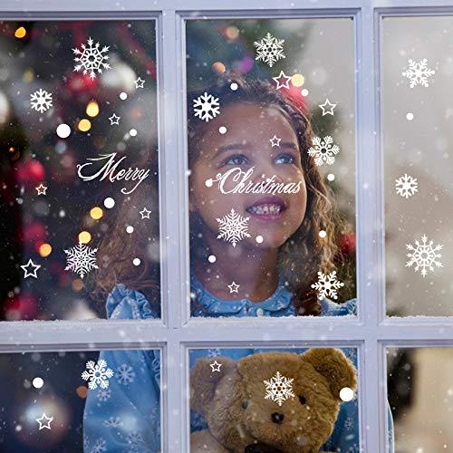 HAPPYLR Weihnachten Fensteraufkleber Glasaufkleber Wandaufkleber Schneeflocke Türaufkleber Alter Mann Baum Mall Shop Dekorationen Layout, Schneeflocken, groß