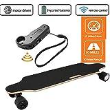 Qulista Fernbedienung Elektro Longboard Cruiser 25km/h E-Skateboards Erwachsene/Kinder, Reichweite 10 km, Elektro Skateboard belastbar bis 130kg (Schwarz, L 83cm)