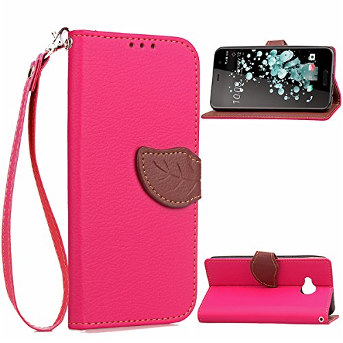 HTC U Play Hülle, HTC U Play Flip Hülle, Gift_Source [ Rose ] Schutz-Hülle [Kartenfach] Ultra-slim Cover Standfunktion Hülle Etui with Karte Halterung PU Leder Wallet Klapphülle Flip Book Case Magnetverschluss Handytasche für HTC U Play (Htc-source-fällen)