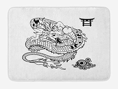 OQUYCZ Japanese Dragon Bath Mat, Tattoo Art Style Mythological Dragon Figure Monochrome Reptile Design, Plush Bathroom Decor Mat with Non Slip Backing, 23.6 W X 15.7 W Inches, Black White